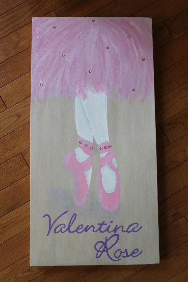 Personalized Ballet Slippers Name Canvas by ARTsythisCRAFTythat