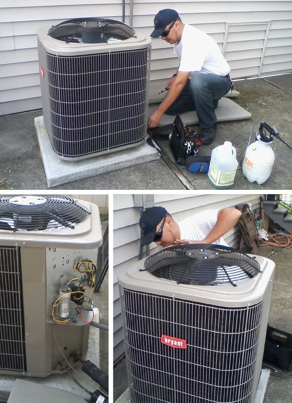 Out technician Stephen performing an annual tune-up on a Bryant air conditioner we installed in Fairfield, CA