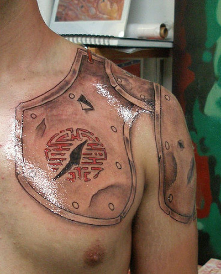 Shoulder and chest armor tattoo another tattoo for Shoulder and chest tattoos