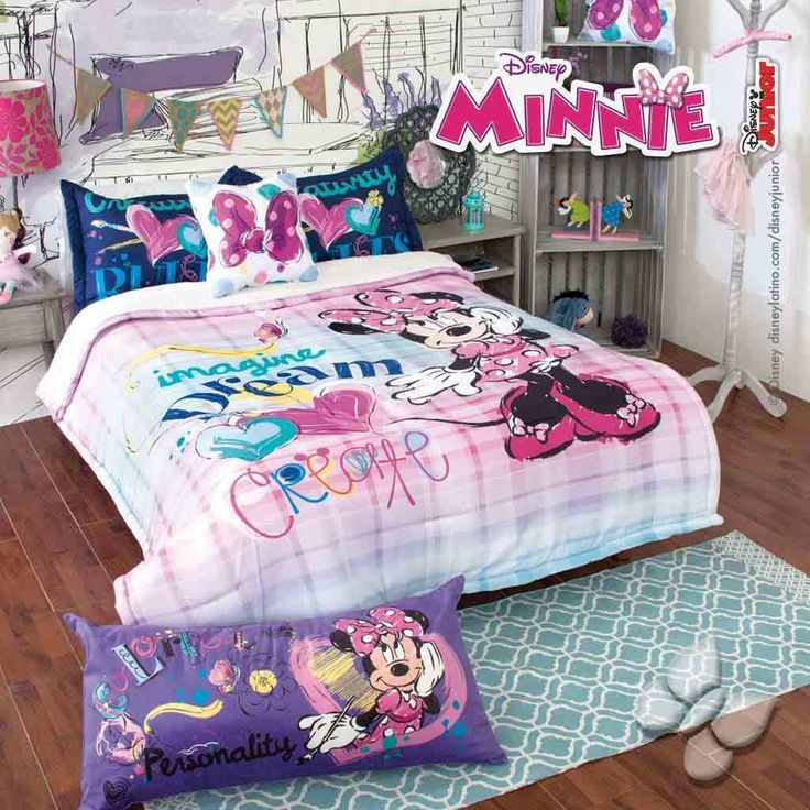 Disney Jr Minnie Mouse Bowtique Girl Bedroom Bedding Comforter & Cushion Set