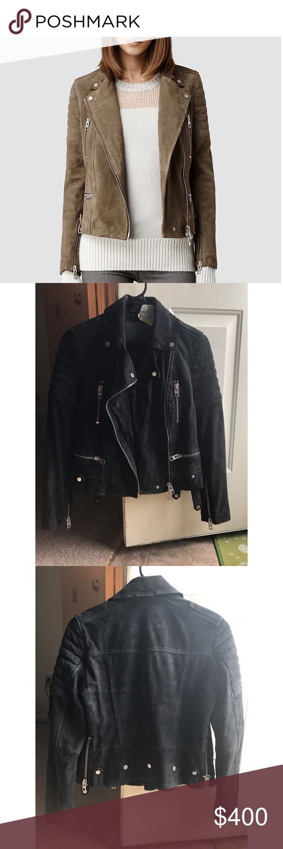 BLACK AllSaints biker jacket It was worn just a couple times and newly dry-cleaned by a specialty leather shop! No issues at all and from an animal and smoke free home. Shipped w/h tracking and in a waterproof bag. Silver headwear and size 4! Must sell as I am moving! All Saints Other