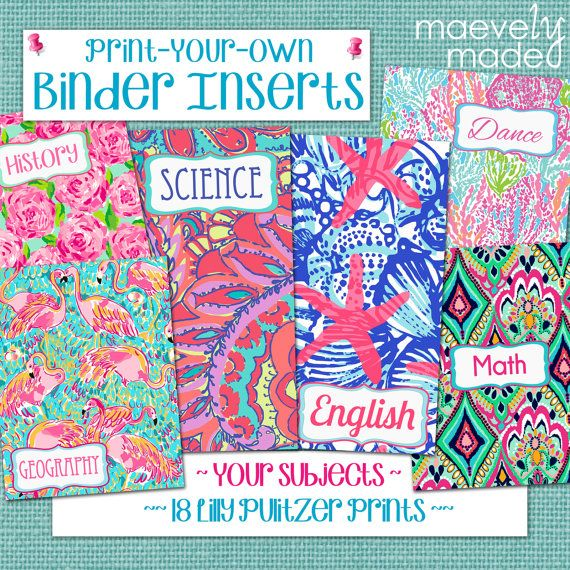 Print Your Own Binder Inserts Custom Subjects On Lilly