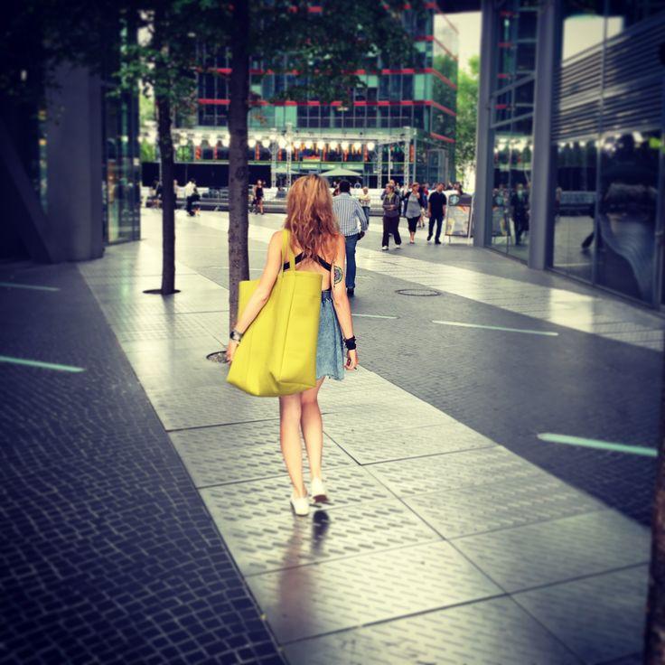 Street glam. Juicy Lime Felt Oversize Bag.  By Sweet Revenge.  Handmade