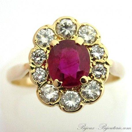 Bague pompadour en or rubis et diamants 941