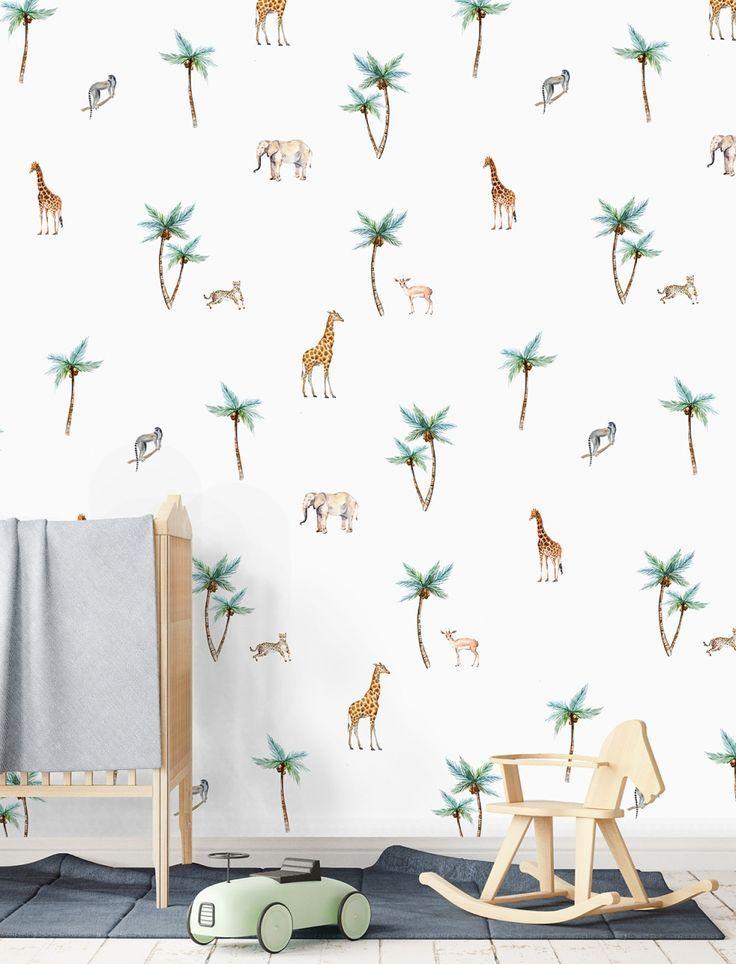 Jungle Dieren Behang Kinderkamer.Behang Babykamer Exotisch Behang Dierenbehang Kinderkamer