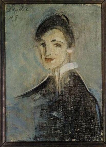 Helene Schjerfbeck - Singer in Black, 1916 - 1917,... Painting: oil on canvas