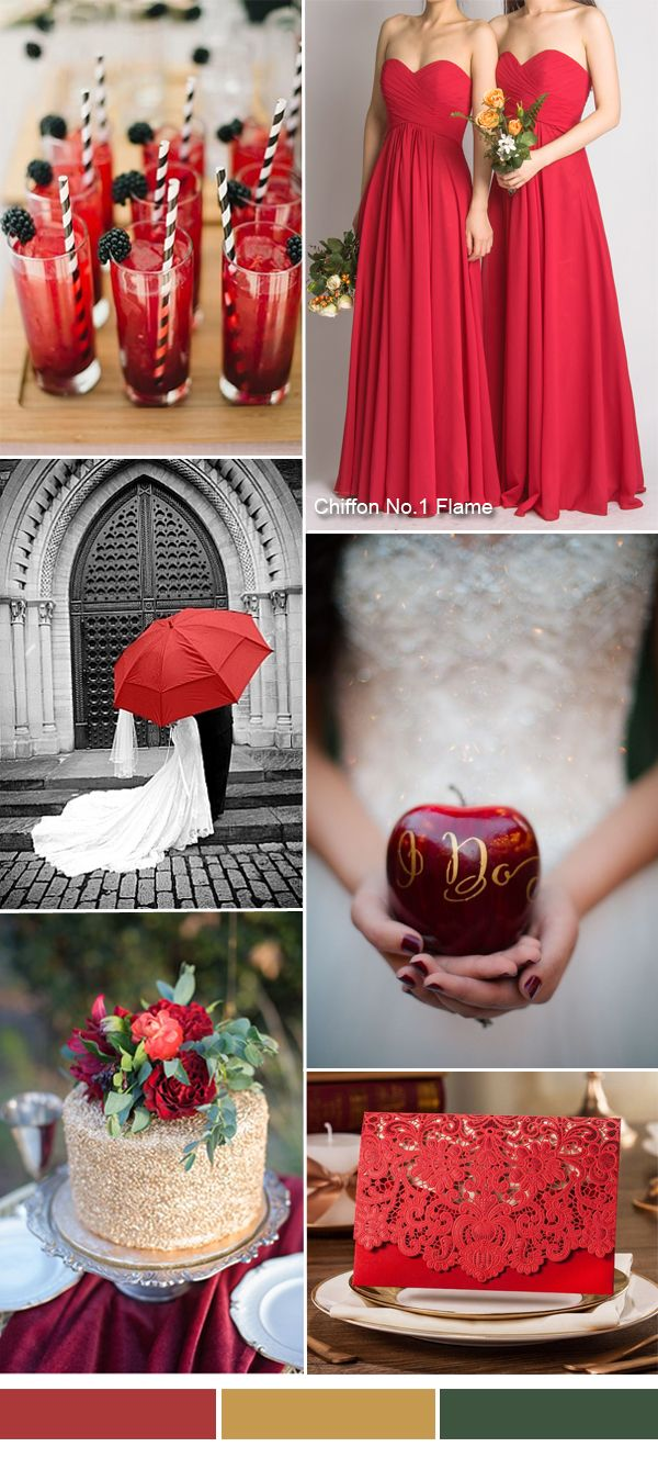 TBQP237 Flame red fall wedding color ideas red bridesmaid dresses