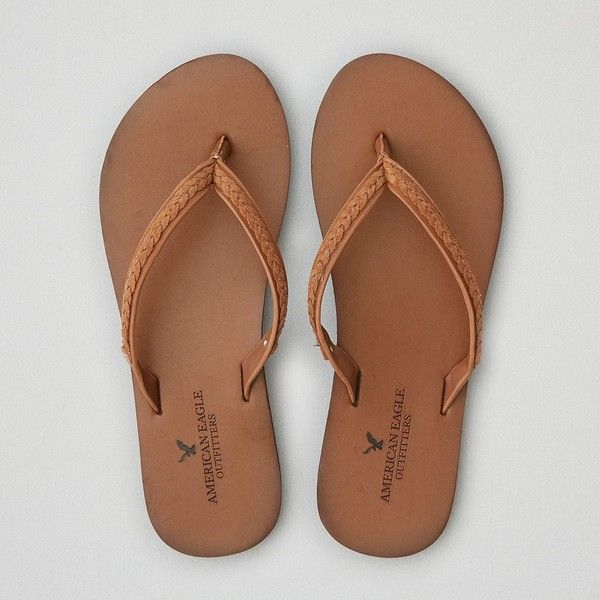 AE Leather Flip Flop ($17) ❤ liked on Polyvore featuring shoes, sandals, flip flops, brown, braided sandals, brown sandals, woven shoes, braided flip flops and brown leather shoes