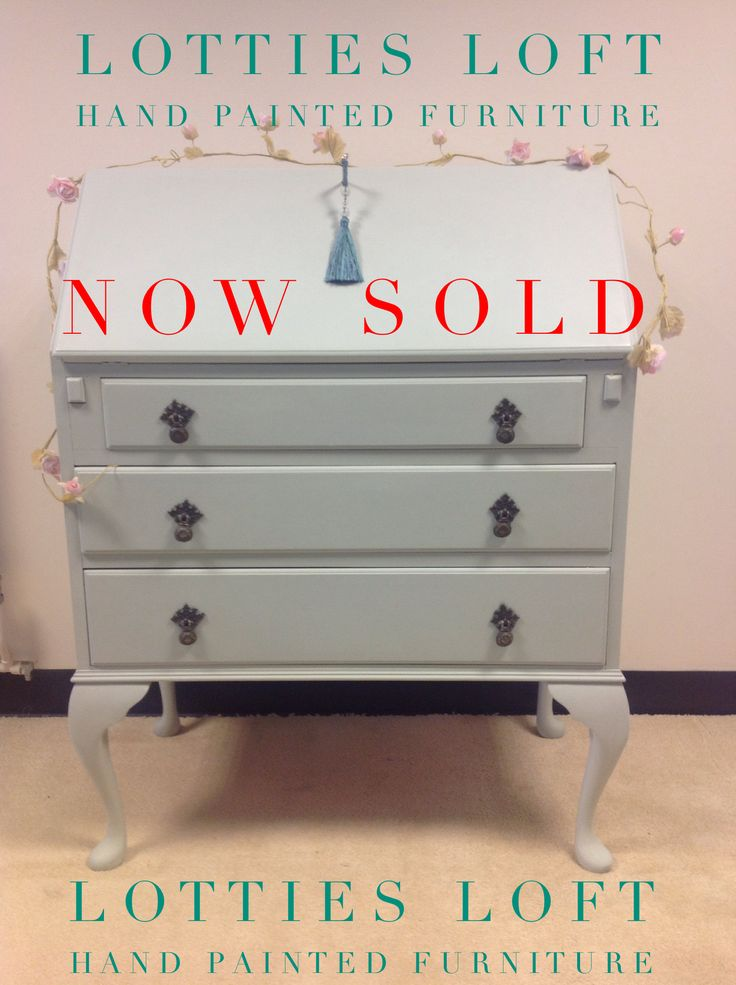 """Lovely bureau painted by LOTTIES LOFT. In a lovely FARROW AND BALL COLOUR """"MIZZLE"""""""