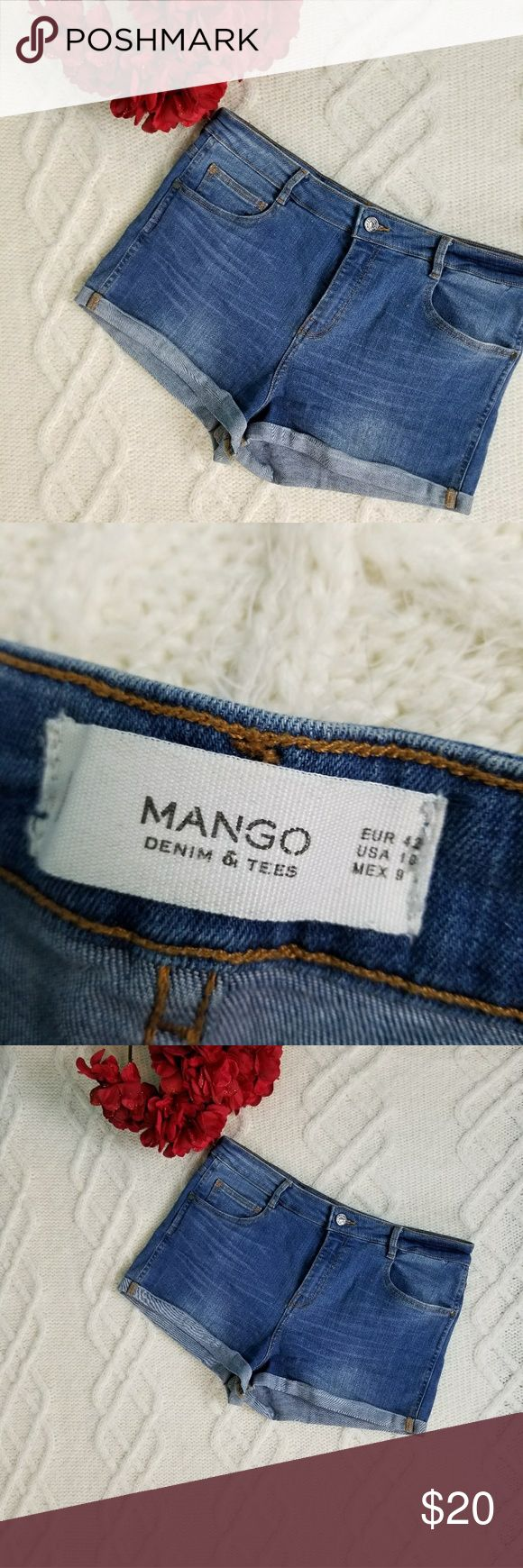 Mango 10 blue jean fitted denim shorts thin cuffed Thin cuff  Blue jeans  Mango Us 10 Fitted mini shorts Mango Shorts Jean Shorts