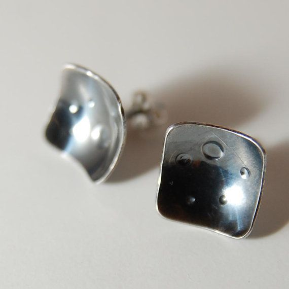 Oxidized sterling square post earrings by tiffanycoley on Etsy, $32.00