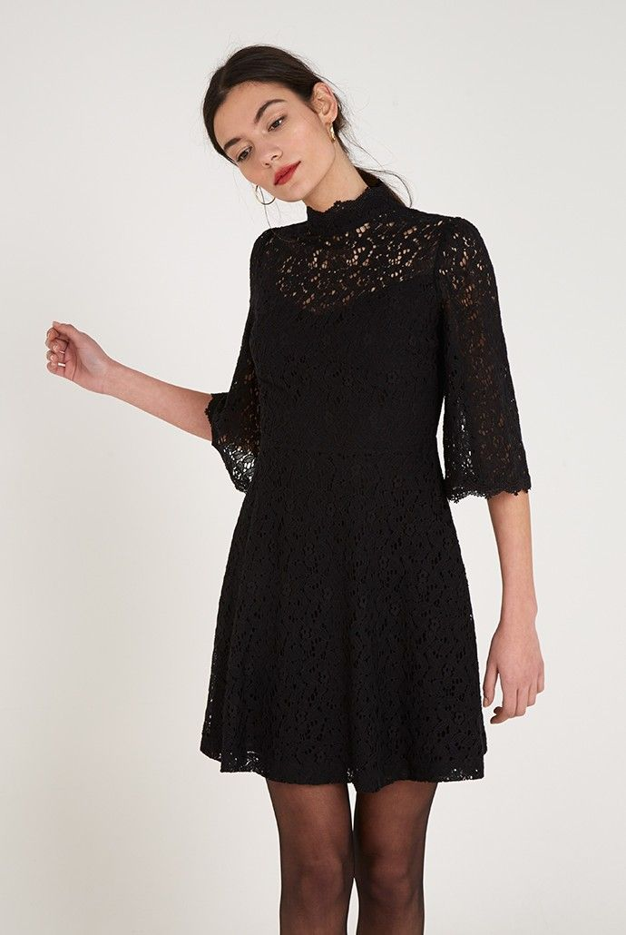 Joy+Eleana+Lace+High-Neck+Dress