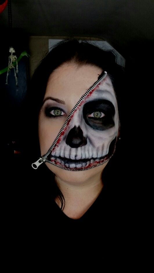 Zipper face halloween makeup
