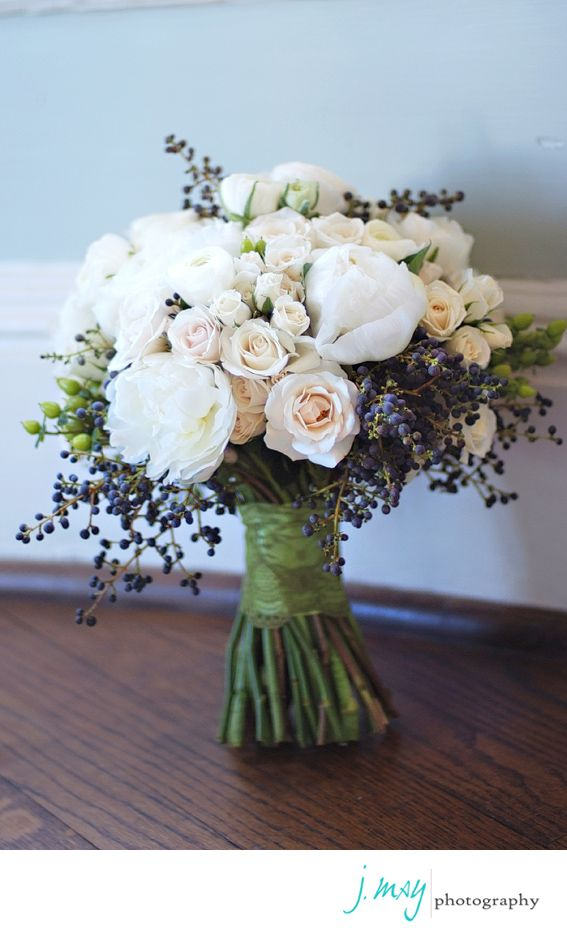 blush, ivory and blue bouquet