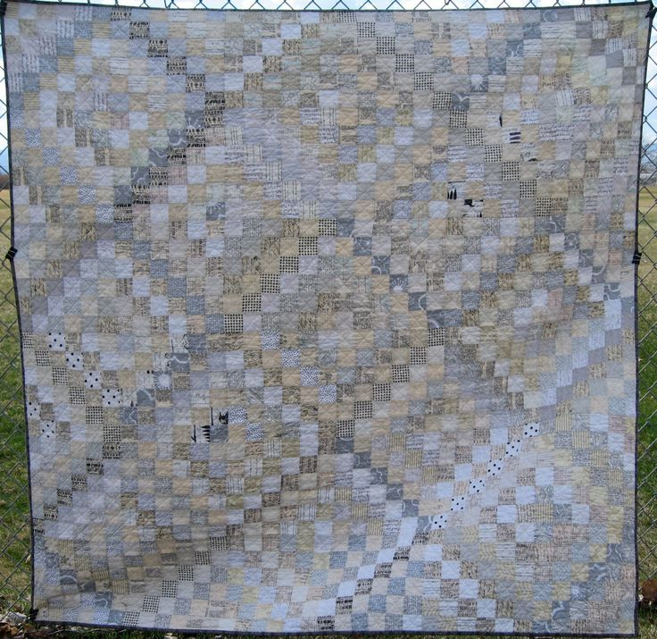 Low Volume Text Trip Around the World Quilt by CarrotTopQuilts