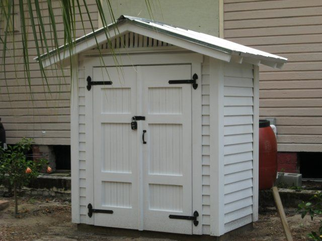 Small garden shed storage - this website has tons of beautiful historically appropriate sheds