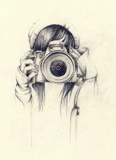 Girl holding camera drawing