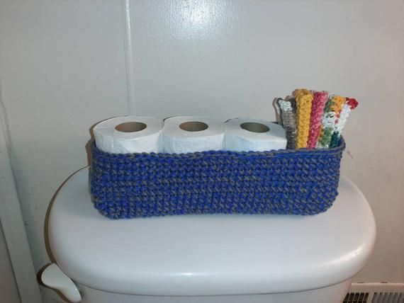 Crochet Toilet Paper Holder Organization For The Bathroom Gray