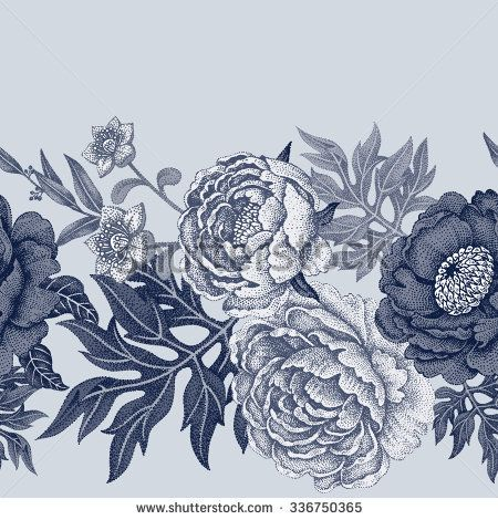 Padrão sem costura.  Ilustração de flores de jardim de rosas, peônias.  Design floral em estilo vitoriano.  Vintage.  Vector.  Preto e branco.