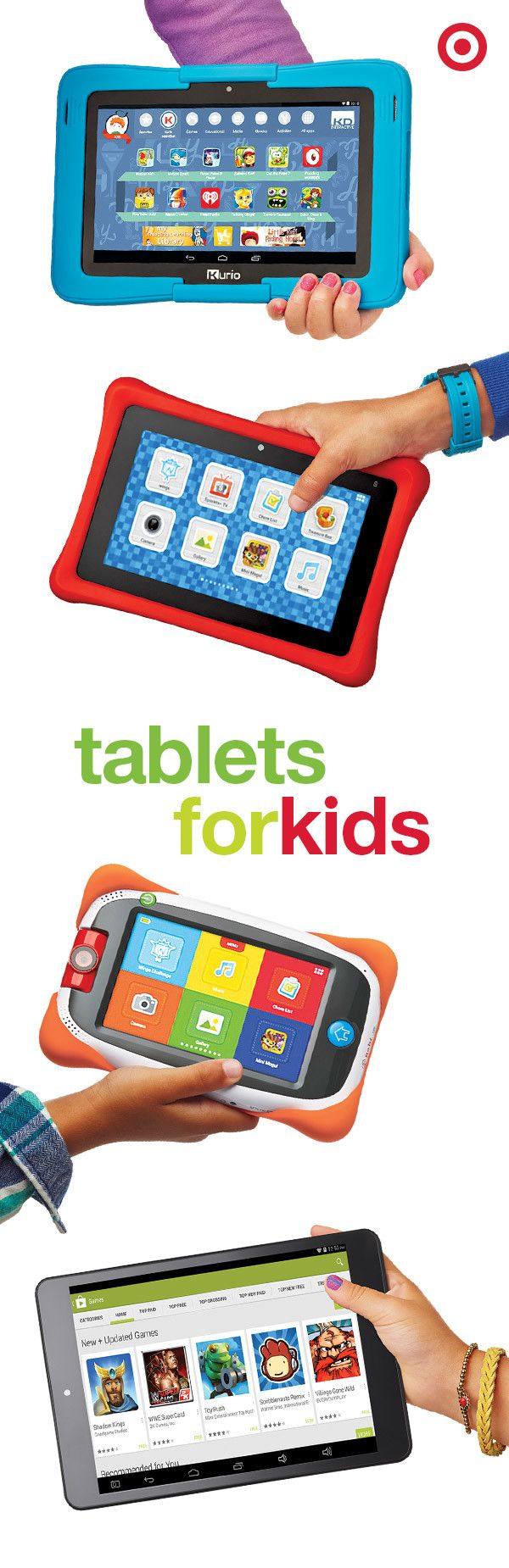 Best gift ever, or smartest gift ever? From teaching to gaming to watching movies, kids will love to swipe, press and interact with these Kurio, Nabi and RCA 8 Android tablets. What a sneaky, fun way to get them to learn.