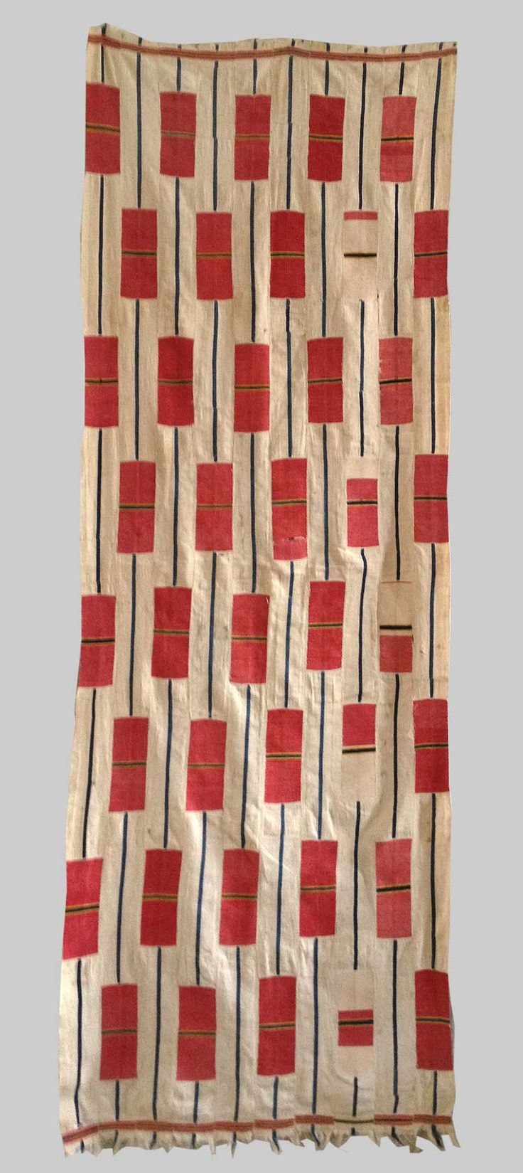 Cotton strip weaving Woven in 10 strips from the ewe people  Ghana early 20th century