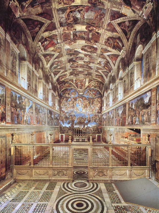 Sistine Chapel - Rome, Italy The Sistine Chapel is the best-known chapel of the Apostolic Palace, the official residence of the Pope in the Vatican City. It is famous for its architecture and its decoration by Renaissance artists including Michelangelo. Michelangelo painted 12,000 sq ft of the chapel ceiling between 1508 and 1512. The ceiling, and especially The Last Judgment (1535–1541), is widely believed to be Michelangelo's crowning achievement in painting.