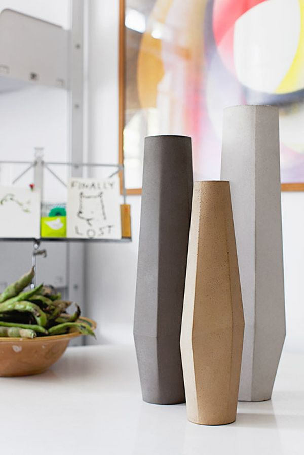 Stefano Pugliese's cool and beautiful Marchigüe Concrete Vases   Photo: Giulio Boem   Stylist: Francesca Pelliciari