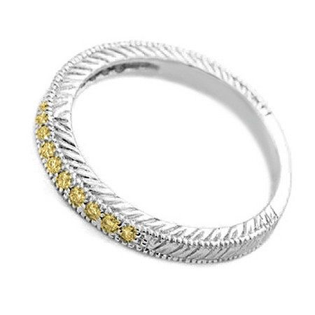 1/4 Carat Fancy Canary Yellow Diamond Wedding Band Ring Solid