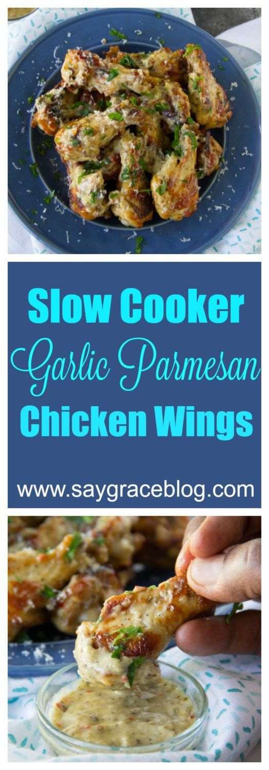 These yummy slow cooker roasted garlic Parmesan chicken wings are sure to be the spotlight of your next party!!