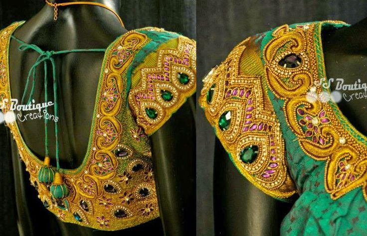 heavy work silk saree blouse designs