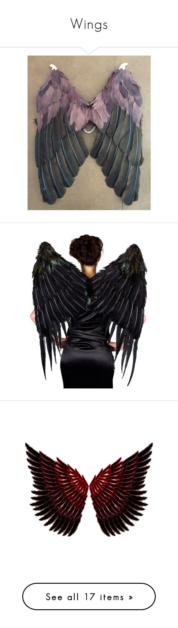 """Wings"" by annuroses ❤ liked on Polyvore featuring costumes, jewelry, victoria secret costume, angel wing costume, victoria secret halloween costume, victoria's secret, wing costume, wings, accessories and black"