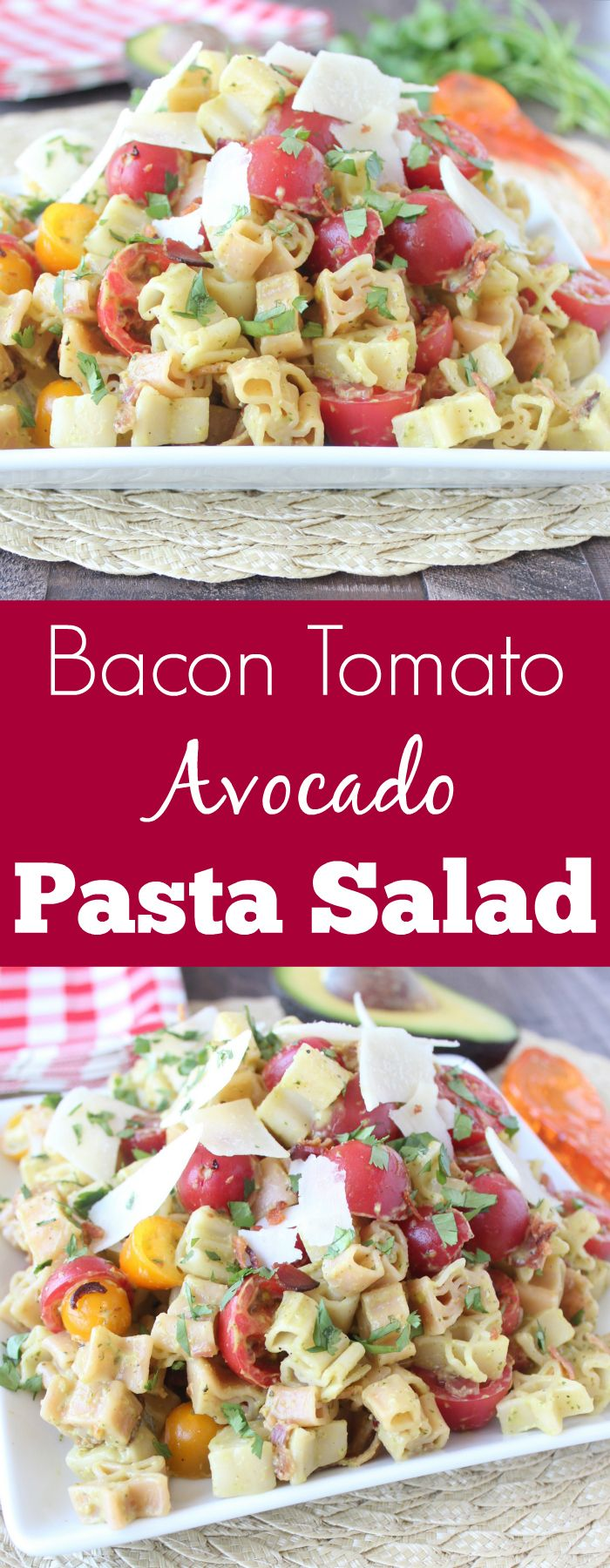Crispy Bacon, Juicy Tomatoes & Creamy Avocado Dressing make this one delicious pasta salad! Make it with #WorldMarket Stars & Stripes Pasta for a festive 4th of July side dish! #WorldMarketTribe