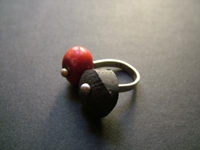 raku ceramic and sterling silver ring
