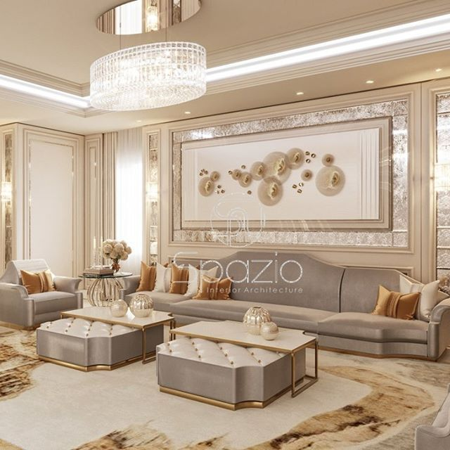 Living Room Interior Desing And Decoration In Dubai House With