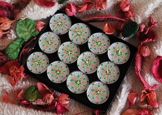 Hand painted henna candles / Pastel colors / Set of 12