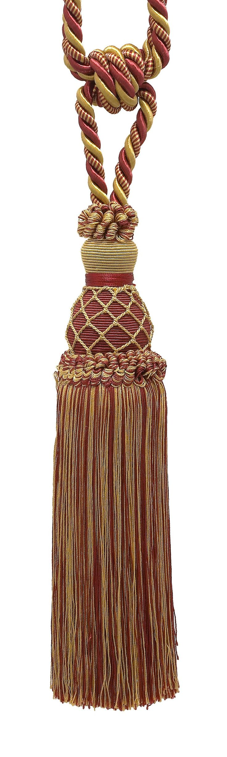 "Elegant Burgundy Red, Gold Curtain & Drapery Tassel Tieback / 10"" tassel, 30 1/2"" Spread (embrace), 3/8"" Cord, Imperial II Collection Style# TBIN-1 Color: BURGUNDY GOLD - 1253"