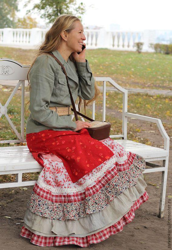 Купить Длинная юбка Домашний очаг - ярко-красный, цветочный, в клеточку, переход цвета, кружево