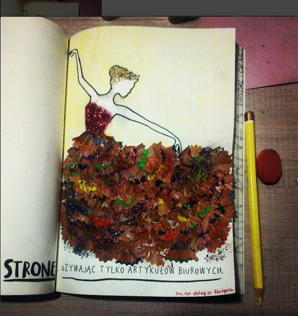 Use colored pencil shavings to make a picture. (I'm doing a beach!)