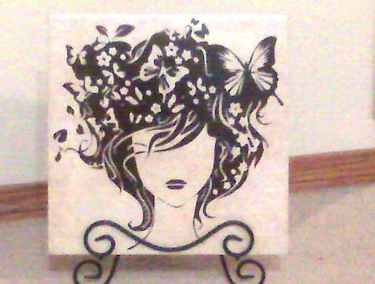 FREE SVG butterfly hair girl