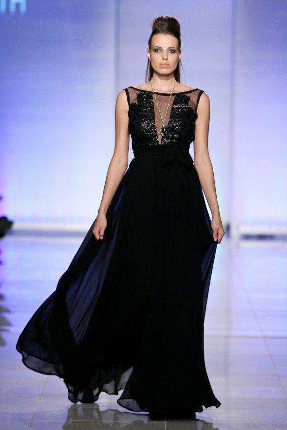 Black chiffon dress by ZARTH