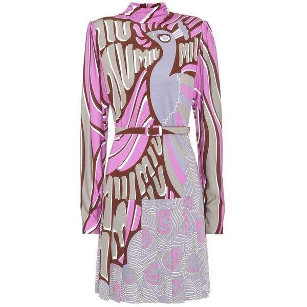 Miu Miu Peacock-Printed Dress ($2,970) ❤ liked on Polyvore featuring dresses, pink, miu miu, pink dress, peacock print dress, peacock feather dress and peacock dress