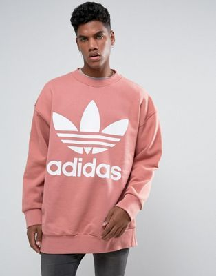 adidas Originals Boxy Oversized Crew Neck Sweat In Pink