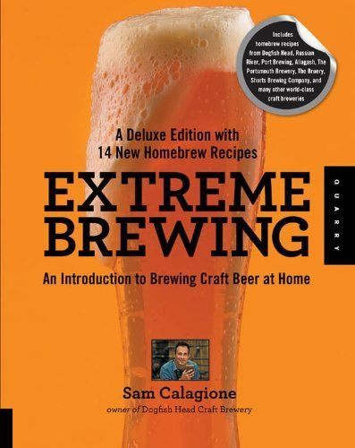 Extreme Brewing, A Deluxe Edition with 14 New Homebrew Recipes: An Introduction to Brewing Craft Beer at Home by Sam Calagione, http://www.amazon.com/gp/product/B008733STC/ref=as_li_tl?ie=UTF8&camp=1789&creative=390957&creativeASIN=B008733STC&linkCode=as2&tag=vilvie-20&linkId=RWBHNQB75HA5XYGU