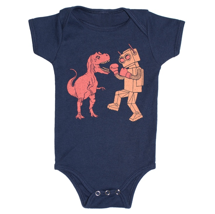 Dinosaur vs Robot Baby One Piece Bodysuit by GnomEnterprises, $20.00 - For my baby making friends