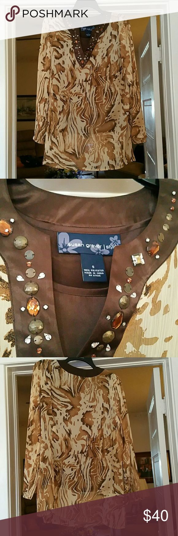Susan graver smock and cami Beige pattern tunic with brown cami and beaded neckline Susan Graver Tops Tunics