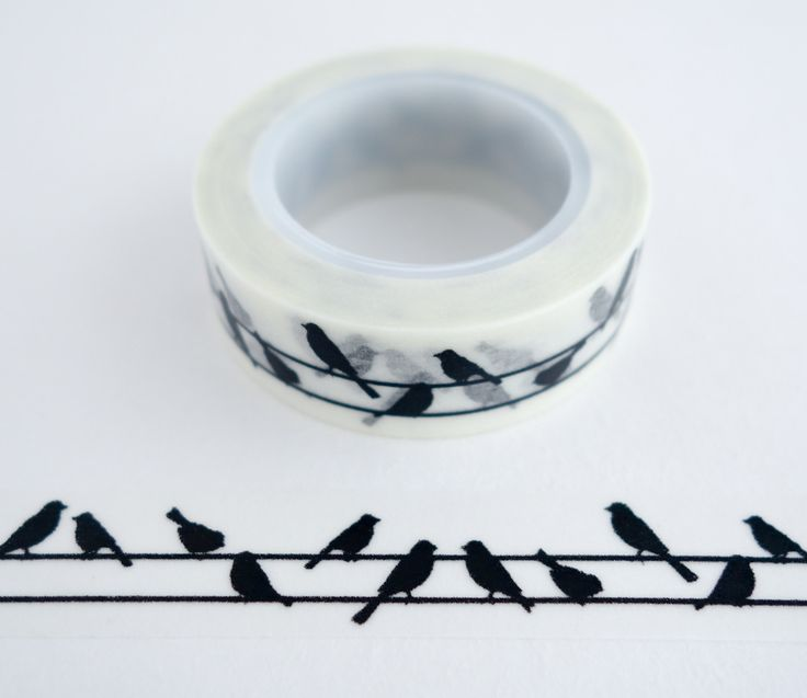 Single roll of washi masking tape with black birds on a line pattern. Great for travel journals, scrapbooking, gift wrapping, decorating cards and envelopes and more! Add a little dash of cuteness to
