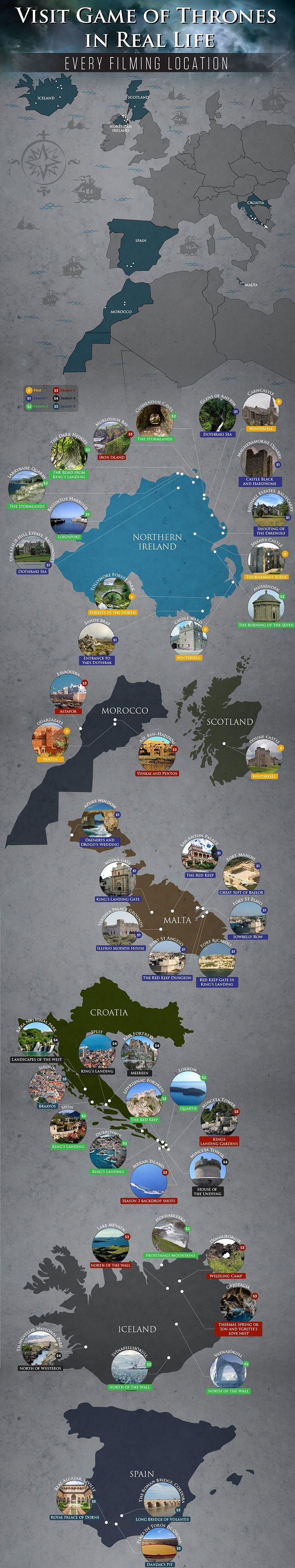 This infographic by travel agency Lawrence of Morocco reveals the true locations used in the hit HBO TV series Game of Thrones. The main headquarters is at Paint Hall studios in Belfast, Northern Ireland, where most of the interior sets are housed; the better part of location shooting also takes place in Northern Ireland, but many other European countries, and even Africa, have been used as well.