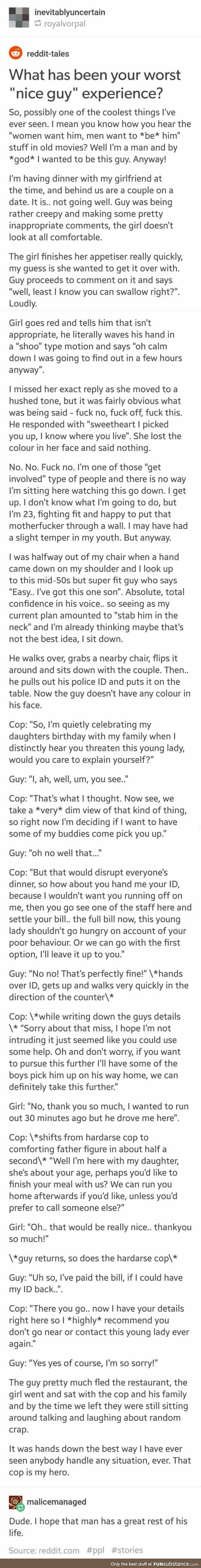 """I'm putting this in my """"inspirational"""" board because this cop is a shining example of how rape threats should be dealt with. All too often, men (even police) dismiss a woman's cry for help or justice and excuse the creep's behavior. So, yeah, these two men restored my faith a little. Thank you, to the outsiders who will step in to make sure others don't have to live a nightmare."""