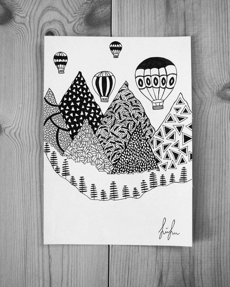https://www.instagram.com/simonestubgaard/ do you love adventure, traveling and heights? I defiantly do and a trip in a hot air balloon is on the bucket list #travelling #adventure #exploring #hotairballoon #bucketlist #art #inspiration #motivation #drawing #penart #artist #simonestubgaard