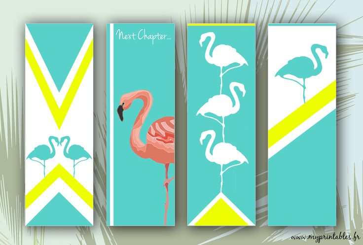 FREE PRINTABLE - Flamingo Bookmarks - Marque-pages Flamant-Rose Téléchargement www.myprintables.fr